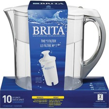 Brita 10-Cup Grand Water Pitcher - Pitcher2 Month - 10 Cups Pitcher Capacity - 1 Each - White