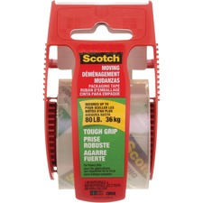 """Scotch Tough Grip Packaging Tape - 22.2 yd (20.3 m) Length x 1.89"""" (48 mm) Width - Dispenser IncludedRoll - Clear"""
