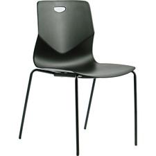 Heartwood Zuma Desk Height Stacking Chairs - 4/CT - Polypropylene Seat - Powder Coated Frame - Four-legged Base - Black - 4 / Carton