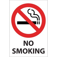 """U.S. Stamp & Sign Caution Sign - 1 Each - NO SMOKING Print/Message - 8"""" (203.20 mm) Width x 12"""" (304.80 mm) Height - Rectangular Shape - Easy Readability, Durable - Multicolor"""