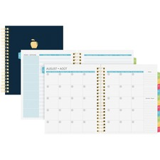 Blueline Undated Teacher Planner - Academic - Monthly - 1 Year - Twin Wire - Black, Navy - Gold - Attendance Record, To-do List, Laminated Tab, Planning Sheet, Storage Pocket, Hard Cover, Student Information Page, Reference Calendar, Phone Log Page, Grade