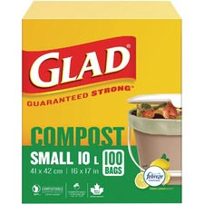 "Glad Trash Bag - Small Size - 10 L - 16"" (406.40 mm) Width x 17"" (431.80 mm) Length - White - 100/Box - Waste Disposal, Kitchen"