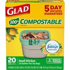 "Glad Trash Bag - Small Size - 10 L - 16"" (406.40 mm) Width x 17"" (431.80 mm) Length - White - 44/Box - Waste Disposal, Kitchen"
