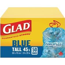 """Clorox Trash Bag - 45 L - 24"""" (609.60 mm) Width x 28"""" (711.20 mm) Length - Blue - 50/Box - Waste Disposal"""