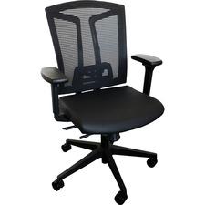 Heartwood Echo Mid Back Chair - Black Vinyl Seat - Black Back - 5-star Base - 1 Each