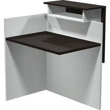 """Heartwood INV-2436 Innovations Return - 35.5"""" x 33.5"""" x 43.5"""" , 0.1"""" Edge, 1"""" Top - Band Edge - Material: Thermofused Laminate (TFL) Top, Polyvinyl Chloride (PVC) Edge, Polycarbonate Panel, Wood Grain Top, Particleboard - Finish: Evening Zen, White"""