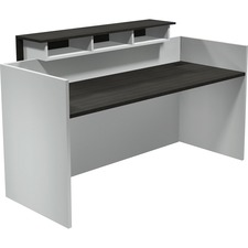 """Heartwood Modern Reception Desk - 71"""" x 29.5"""" x 43.5"""" , 0.1"""" Edge, 1"""" Top - Band Edge - Material: Thermofused Laminate (TFL) Top, Polyvinyl Chloride (PVC) Edge, Polycarbonate Panel, Wood Grain Top, Particleboard - Finish: Gray Dusk, White"""