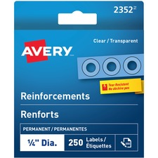 """Avery® Clear Reinforcement Labels - 0.25"""" (6.35 mm) Diameter - Round - Clear - Polyvinyl - 250 / Box"""