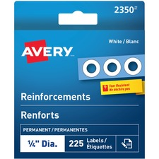 """Avery® White Reinforcement Labels - 0.25"""" (6.35 mm) Diameter - Round - Mylar - 225 / Pack"""