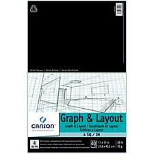 Canson Graph & Layout Paper - 40 Sheets - White Paper - Graph Layout, Lightweight, Acid-free, Printed, Sturdy, Bond Paper