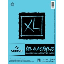 """Canson XL Oil & Acrylic Pad - 24 Sheets - Glue - 136 lb Basis Weight9"""" (228.60 mm)12"""" (304.80 mm) - Bleed-free, Durable Cover, Acid-free, Sturdy - 1Each"""