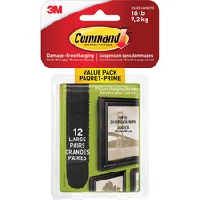 Command Hanging Strip - 7.26 kg Capacity - for Pictures, Art - Black - 1 Each
