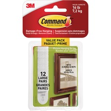 Command Hanging Strip - 7.26 kg Capacity - for Pictures, Art - White - 12 / Pack
