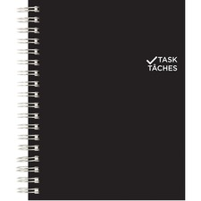 Blueline Twin-wire Undated Task Planner - 1 Day Single Page Layout - Twin Wire - Black - Paper - Laminated, Flexible Cover, Top Priorities Section, Telephone Section, Daily Schedule, Bilingual, Micro Perforated, Task List, Notes Area, Soft Cover, Project