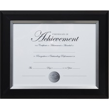 "Dax 2-tone Silver Document Frame - 12.40"" x 13.80"" x 1"" (25.40 mm) Frame Size - Rectangle - Vertical, Horizontal - 1 Each - Bronze - Silver, Black"