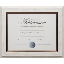 "Dax 2-tone Bronze Document Frame - 12.40"" x 13.80"" x 1"" (25.40 mm) Frame Size - Rectangle - Vertical, Horizontal - 1 Each - Bronze - White"