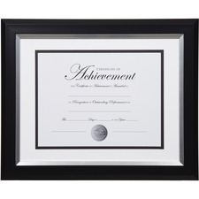 "Dax 2-tone Silver Document Frame - 16.80"" x 14.90"" x 1"" (25.40 mm) Frame Size - Holds 11"" x 14"" Insert - Rectangle - Vertical, Horizontal - 1 Each - Bronze - Silver, Black"