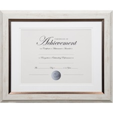 "Dax 2-tone Bronze Document Frame - 16.80"" x 14.90"" x 1"" (25.40 mm) Frame Size - Holds 11"" x 14"" Insert - Rectangle - Vertical, Horizontal - 1 Each - Bronze - White"