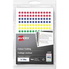 "Avery® Removable Colour Coding Labels - 1/4"" Diameter - Removable Adhesive - Round - Red, Blue, Green, Yellow - 192 / Sheet - 4 Total Sheets - 768 / Pack"