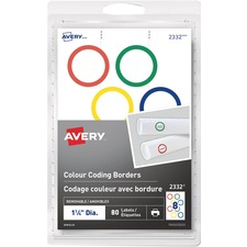 "Avery® Colour Coding Border Round Labels - 1 1/4"" Diameter - Removable Adhesive - Round - Laser, Inkjet - Red, Blue, Green, Yellow - 8 / Sheet - 10 Total Sheets - 80 / Pack"