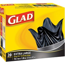"""Glad Extra Large Easy Tie Garbage Bags - Extra Large Size31"""" (787.40 mm) Width x 42"""" (1066.80 mm) Length - Black - 20/Box - Office, Kitchen, Bathroom, Garbage"""