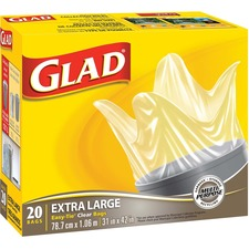 """Glad Extra Large Easy Tie Garbage Bags - Extra Large Size31"""" (787.40 mm) Width x 42"""" (1066.80 mm) Length - Clear - 20/Box - Office, Kitchen, Bathroom, Garbage"""