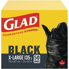 """Glad Extra Large Easy Tie Garbage Bags - Extra Large Size31"""" (787.40 mm) Width x 42"""" (1066.80 mm) Length - Black - 50/Box - Office, Kitchen, Bathroom, Garbage"""