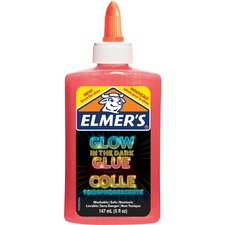 Elmers Glow In The Dark Pourable Glue - School Project, Craft Project, Classroom Activities - Recommended For - 1 / Pack - Pink