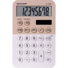 "Sharp 8-digit Large Desktop Calculator - 3-Key Memory, Dual Power, Angled Display, Automatic Power Down, Extra Large Key - 8 Digits - LCD - Battery/Solar Powered - 1 - LR54 - 0.9"" x 3"" x 4.7"" - Latte - Plastic - Desktop - 1 Each"