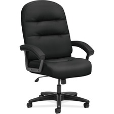 "HON Pillow-Soft 2095ST10T Executive Chair - Fabric, Plush, Memory Foam Seat - Fabric, Plush, Fiber Back - Black - 26.3"" Width x 29.8"" Depth x 46.5"" Height - 1 Each"