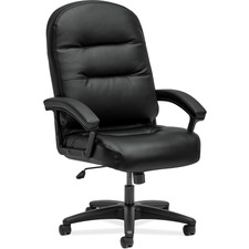 "HON Pillow-Soft 2095ST11T Executive Chair - Leather, Plush, Memory Foam Seat - Leather, Plush, Fiber Back - Black - 26.3"" Width x 29.8"" Depth x 46.5"" Height - 1 Each"