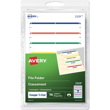 "Avery® Print or Write File Folder Labels - 19/64"" Height x 3 1/2"" Width - Permanent Adhesive - Rectangle - Inkjet, Laser - Blue, Green, Red, Yellow - 7 / Sheet - 10 Total Sheets - 70 / Pack"
