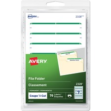 "Avery® Print or Write File Folder Labels - 19/64"" Height x 3 1/2"" Width - Permanent Adhesive - Rectangle - Inkjet, Laser - Green - 7 / Sheet - 10 Total Sheets - 70 / Pack"