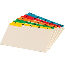 """Oxford A-Z Coloured Tab Manila Card Guides - Printed Assorted Tab(s) - Character - A-Z - 4.38"""" Divider Width x 6"""" Divider Length - 4"""" Width x 6"""" Length - Assorted Manila Divider - 1 / Pack"""
