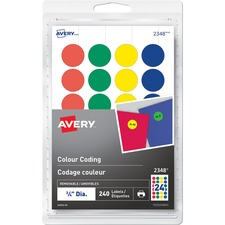 "Avery® Removable Colour Coding Labels - 3/4"" Diameter - Removable Adhesive - Round - Laser, Inkjet - Red, Blue, Green, Yellow - 24 / Sheet - 10 Total Sheets - 240 / Pack"