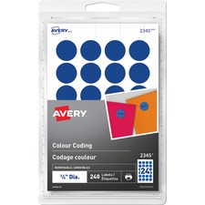 "Avery® Removable Colour Coding Labels - 3/4"" Diameter - Removable Adhesive - Round - Laser, Inkjet - Blue - 24 / Sheet - 10 Total Sheets - 240 / Pack"