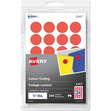 "Avery® Removable Colour Coding Labels - 3/4"" Diameter - Removable Adhesive - Round - Laser, Inkjet - Red - 24 / Sheet - 10 Total Sheets - 240 / Pack"