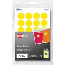 """Avery® Print or Write Color Coding Labels - 3/4"""" Diameter - Removable Adhesive - Round - Laser, Inkjet - Yellow - 24 / Sheet - 10 Total Sheets - 240 Total Label(s) - 240 / Pack"""