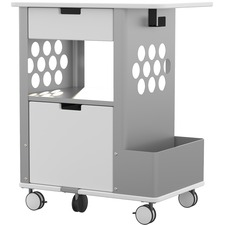 "Focal Rolling Storage Cart - 2 Drawer - 5 Casters - Steel, Metal, Melamine - x 28"" Width x 20"" Depth x 33.5"" Height - Silver Frame - White - 1 Each"