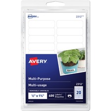 """Avery® Removable Rectangular Labels - 1/2"""" Height x 1 3/4"""" Width - Removable Adhesive - Rectangle - Inkjet, Laser - White - 20 / Sheet - 20 Total Sheets - 400 / Pack"""