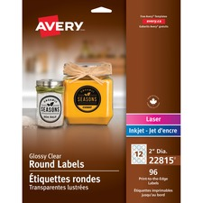 """Avery® Glossy Clear 2"""" Round Labels - 2"""" Diameter - Permanent Adhesive - Round Scallop - Laser, Inkjet - Glossy Clear - 12 / Sheet - 8 Total Sheets - 96 / Pack"""