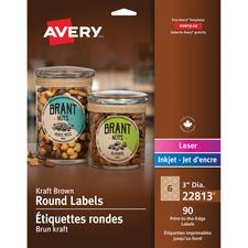 """Avery® Kraft Round Labels - 3"""" Diameter - Permanent Adhesive - Round - Laser, Inkjet - Kraft Brown - 6 / Sheet - 15 Total Sheets - 90 / Pack"""