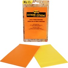 Post-it® Extreme Adhesive Note - 25 Sheets per Pad - Yellow, Orange - Paper - Water Resistant, Adhesive, Durable - 2 / Pack
