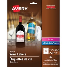 """Avery® Print-to-edge Water-resistant Labels - 4 3/4"""" Height x 3 1/2"""" Width - Permanent Adhesive - Arched Rectangle - Laser, Inkjet - White - 4 / Sheet - 10 Total Sheets - 40 / Pack"""