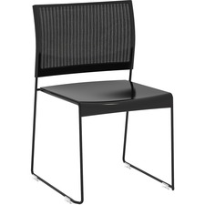 Safco Currant Mesh Back Guest Stack Chairs - 4/CT - Black Seat - Black Back - Powder Coated, Black Steel Frame - 4 / Carton