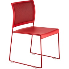 Safco Currant Mesh Back Guest Stack Chairs - 4/CT - Red Seat - Red Back - Powder Coated, Red Steel Frame - 4 / Carton