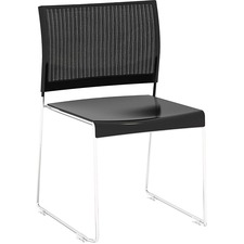 Safco Currant Chrome Frame Guest Stack Chairs - 4/CT - Black Seat - Black Back - Powder Coated, Chrome Steel Frame - 4 / Carton