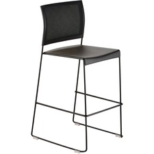 Safco Currant Bistro-Height Stack Chairs - 2/CT - Black Seat - Black Back - Powder Coated, Black Steel Frame - 2 / Carton