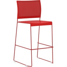 Safco Currant Bistro-Height Stack Chairs - 2/CT - Red Seat - Red Back - Powder Coated, Red Steel Frame - 2 / Carton