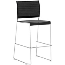 Safco Currant Bistro-Height Chrome Stack Chairs - 2/CT - Black Seat - Black Back - Powder Coated, Chrome Steel Frame - 2 / Carton